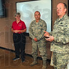 Tribune-Star/Joseph C. Garza<br /> Helping them to understand: Col. Chris Colbert, right, vice wing commander of the 181st Intelligence Wing, describes how an effort like Operation: Kids Deploy can help them understand their parents' deployment when it happens during a press conference Thursday at Hulman Field.