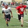 Workout: South's Kevin Bracken (R) runs with a teammate during practice drills Thursday as the Braves prepare for Friday's game.