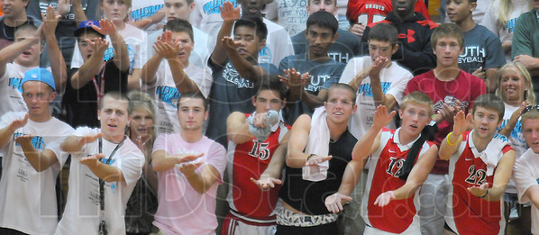 Fan base: Terre Haute South students back the Braves in the volleyball match with thte Patriots Thursday night.