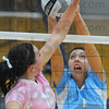 Stopped: Patriot Laura Maurer blocks a tip by Madison Steward in first game action Thursday night.