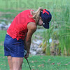Ironing it out: Terre Haute North golfer Rachel Welker hits an iron over water to the green on #14 at The Landing in county meet action.