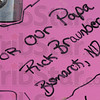 Thought and memories: Personal notes for both victims and survivors of cancer adorn the Pink Heals firetrucks.