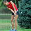 On the green: South #1 golfer Caylee Walburn chips onto the green in County golf meet action Thursday evening.