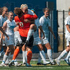 Tribune-Star/Joseph C. Garza<br /> Into the arms of victory: Indiana State goal keeper Emily Lahay gives a hug to teammate Kourtney Vassar after Vassar scored the winning goal against Belmont Sunday at Memorial Stadium.