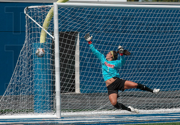 Tribune-Star/Joseph C. Garza<br /> Out of reach: Belmont's Sari Lin tries to block a goal by Indiana State's Seyma Erenli during the Bruins' 2-0 loss Sunday to the Sycamores at Memorial Stadium.