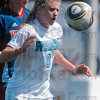 Tribune-Star/Joseph C. Garza<br /> Keep away: Indiana State's Kylie Greischar tries to maintain control of the ball as she is defended by a Belmont opponent during the Sycamores' 2-0 win Sunday at Memorial Stadium.