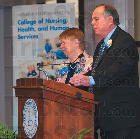 Payback: Nancy and Dale McKee address a gathering of friends and school officials at the dedication of the Mckee Nursing Center in Sandison Hall on the Indiana State University campus Friday afternoon.