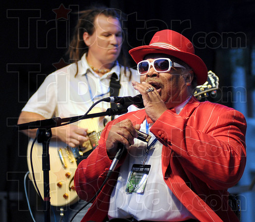 Music man: Mississippi Morris entertains the large crowd at the opening of the Bluesfest Friday night.