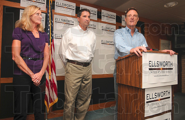Tribune-Star/Joseph C. Garza<br /> Let me introduce...: Senator Evan Bayh introduces senatorial candidate, U.S. Rep. Brad Ellsworth, as Brad's wife, Beth Ellsworth, looks on Friday during a campaign stop at the Terre Haute International Airport.