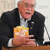 Tribune-Star/Joseph C. Garza<br /> The truth about the movie: Author Emerson Houck offers his viewpoint on the movie, Hoosiers, during his presentation Friday at the Vigo County Public Library.
