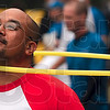 Tribune-Star/Joseph C. Garza<br /> Martin Miranda of the ReMax team shows off his mad hula hoop skills during the Corporate Olympics Saturday at Forest Park.