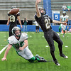 Out of reach: West Vigo defender #30, Cody Thornton can't get to an over-thrown ball to South Vermillion's #28, Justin Manlove during game action Satuday afternoon at Memorial Stadiuim.
