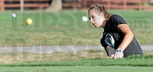 To the green: Greencastle's Chelsea Samuels hits a shot to the green during match action Saturday morning.