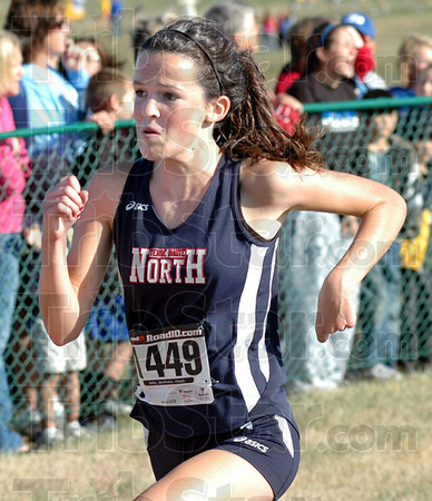 Sprint: North's Mallory Sanders sprints to the finish line during Saturday's State Preview meet.