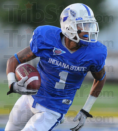 Room to run: Indiana State wide reciever Bryant Kent looks for running room on a reverse.