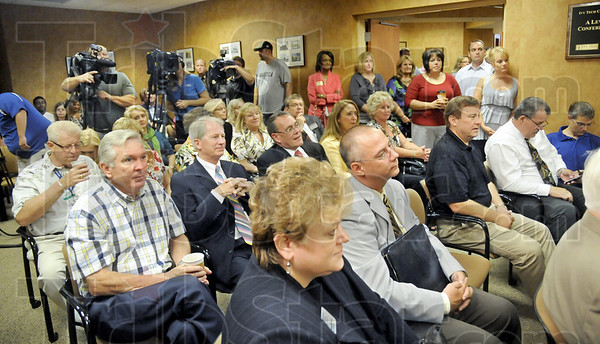 Standing room only: The Chamber of Commerce conference room was packed beyond capacity during Wednesday's announcement tha Terre Haute has been named the Indiana Chamber's Community of the Year.