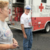 Relief: Janet and Richard Atkins prepare to leave the Terre Haute Red Cross facility Wednesday afternoon. The pair are headed toward Hurricane Earl's path.