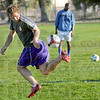 Club practice: An ISU men's soccer player makes a play on the ball during Wednesday's practice session.
