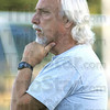 Coach: ISU men's club soccer coach Steve Smith watches his players during Wednesday's practice session.