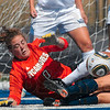 Tribune-Star/Joseph C. Garza<br /> Nothing is getting by: Indiana State goal keeper Emily Lahay dives for the ball as she defends the goal against the Belmont offense during the Sycamores' 2-1 win Sunday at Memorial Stadium.