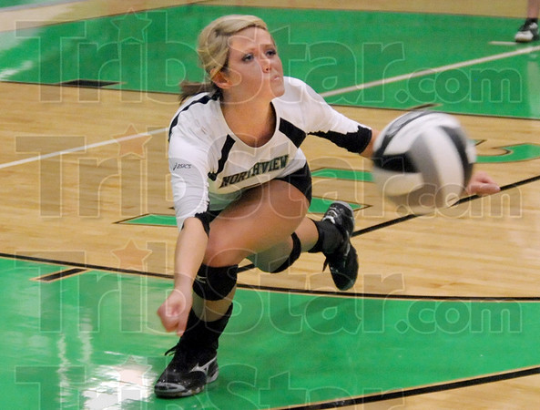 Dig it: Northview's #3, Ashlen Buck digs out a hard-hit ball during game action against West Vigo Monday night.