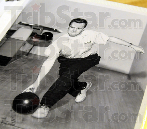 Remember: Detail photograph of Gordon Geckler from many years ago as a young bowler. Geckler has been bowling in an organized league for over sixty years.