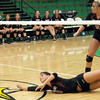 Dig: Northview's #8, Abby Hayes dives to the floor to keep the ball alive against West Vigo Monday evening.
