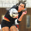 Kill: Madison Steward watches her spike head to the floor in the Braves volleyball match with Sullivan Tuesday evening.