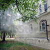 Smoke: A light smoke emits from Guerin Hall on the St. Mary's campus Tuesday afternoon. The is believed to have started in the basement and spread to the first floor of the building.