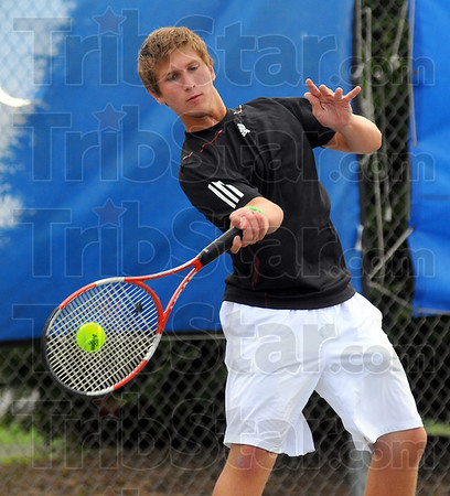 Winner: Brave #2 tennis player Austin Foster won his match in three sets over Terre Haute North's Chris Holcomb.
