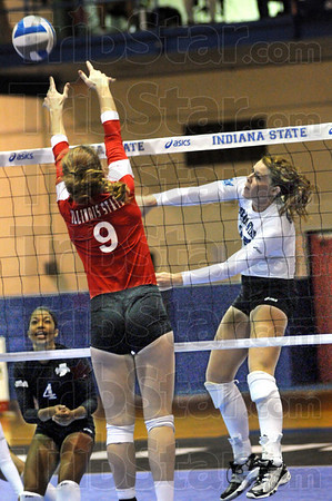 Power play: Indiana State's #25, Morgan Dall powers the ball past an Illinois State defender Friday during game action.