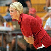 Coach: South volleyball coach Maddison Minnick encourages her team during match action against Northview Tuesday night.