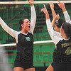 Tribune-Star/Joseph C. Garza<br /> Point, Vikings: West Vigo's Erin Barton (6) celebrates a point won with her teammates during the Vikings' match against Riverton Parke Tuesday at West Vigo.
