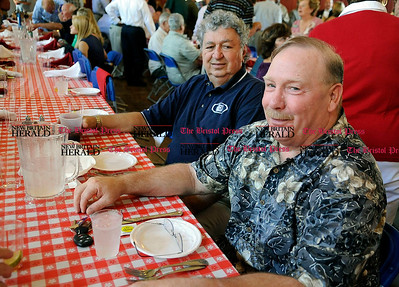 8/31/2010 Mike Orazzi | Staff Dave Pecevich and Tim Gamache while at the Crocodile Club, the oldest eating club in the country, which was started in 1875 by the Norton family ancestor and former state lawmaker Gad Norton, who founded Lake Compounce.