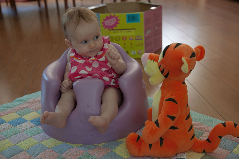 Anna tells Tigger about her feelings while sitting in her Bumbo seat for the first time.