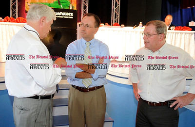 8/31/2010 Mike Orazzi | Staff John Larson, Ed Krawiecki, Jr. and Bristol Mayor Art Ward at the Crocodile Club, the oldest eating club in the country, which was started in 1875 by the Norton family ancestor and former state lawmaker Gad Norton, who founded Lake Compounce.