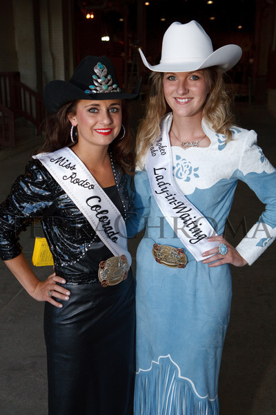 (Denver, Colorado, Sept. 9, 2010)<br /> Kasie Pigg, Miss Rodeo Colorado, and Kellsie Purdy, Miss Rodeo Colorado Lady in Waiting.  The 2010 Hide Party, recognizing the winning bidders of the 2010 Auction of Junior Livestock Champions, at the National Western Stadium Arena in Denver, Colorado, on Thursday, Sept. 9, 2010.<br /> STEVE PETERSON