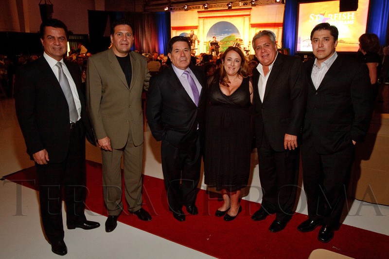 "(Broomfield, Colorado, Sept. 24, 2010)<br /> Ray Jafari, Luis Romero, Zee Ferrufino, Dr. Catherine Carretero-Ferrufino, Emilio Romero, and Fernando Ferrufino.  ""Starfish and Dreams,"" a benefit for ARC Thrift Stores, at Rotors of the Rockies in Broomfield, Colorado, on Friday, Sept. 24, 2010.<br /> STEVE PETERSON"