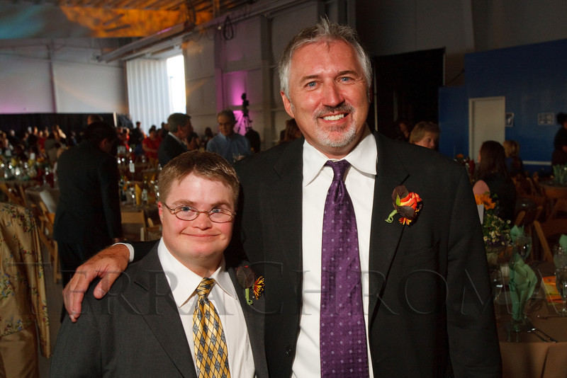 """(Broomfield, Colorado, Sept. 24, 2010)<br /> Ryan Maly (one of three ARC Heroes of the Year) and Lloyd Lewis (ARCTS president and CEO).  """"Starfish and Dreams,"""" a benefit for ARC Thrift Stores, at Rotors of the Rockies in Broomfield, Colorado, on Friday, Sept. 24, 2010.<br /> STEVE PETERSON"""