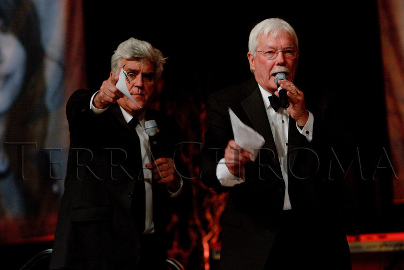 """(Denver, Colorado, Sept. 11, 2010)<br /> Jay Leno and Gary Corbett during live auction.  The Children's Hospital hosts """"Gala 2010--What Matters Most"""" at the Hyatt Regency Denver at the Colorado Convention Center in Denver, Colorado, on Saturday, Sept. 11, 2010.<br /> STEVE PETERSON"""