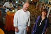 "(Thornton, Colorado, Sept. 11, 2010)<br /> Chef Ian Kleinman with Pam Smith (Anythink Wright Farms library director).  ""Sparkopolis,"" a benefit hosted by the Rangeview Library Friends Foundation, supporting the Rangeview Library District's collaborative public art project, ""This is Who We Are,"" at Anythink Wright Farms library in Thornton, Colorado, on Saturday, Sept. 11, 2010.<br /> STEVE PETERSON"