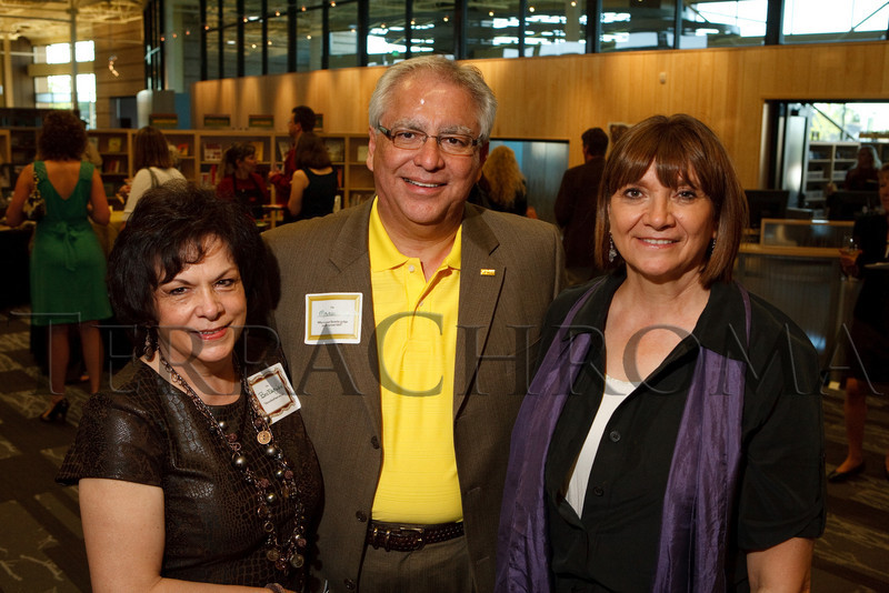 "(Thornton, Colorado, Sept. 11, 2010)<br /> Beverly and Manuel Esquibel with Pam Smith.  ""Sparkopolis,"" a benefit hosted by the Rangeview Library Friends Foundation, supporting the Rangeview Library District's collaborative public art project, ""This is Who We Are,"" at Anythink Wright Farms library in Thornton, Colorado, on Saturday, Sept. 11, 2010.<br /> STEVE PETERSON"