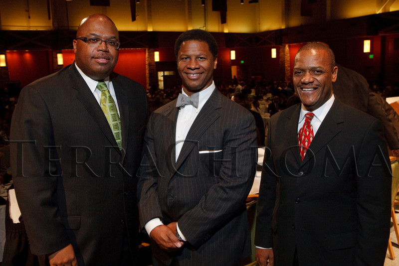 (Denver, Colorado, Sept. 18, 2010)<br /> Cedric Buchanon, Dr. Robert Winn, and the Rev. Dr. Timothy Tyler.  The First Annual M.O.D.E.L. Awards Luncheon, hosted by the Epsilon Nu Omega Chapter of the Alpha Kappa Alpha Sorority, Inc., and the Epsilon Nu Omega Endowment Fund, at the Denver Marriott Tech Center in Denver, Colorado, on Saturday, Sept. 18, 2010.<br /> STEVE PETERSON