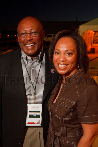 "(Broomfield, Colorado, Sept. 23, 2010)<br /> Floyd Little and his wife, DeBorah.  The ""5th Annual Dinner Royale,"" benefiting Greenhouse Scholars, at the Omni Interlocken Hotel and Rocky Mountain Metropolitan Airport in Broomfield, Colorado, on Thursday, Sept. 23, 2010.<br /> STEVE PETERSON"