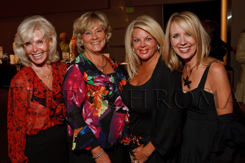 "(Denver, Colorado, Sept. 27, 2010)<br /> Linda Goto, Adrienne Ruston Fitzgibbons, Layne Fleishman, and Keri Christiansen.  ""Behind the Curtain,"" a benefit for the expansion of the Anschutz Cancer Pavilion, hosted by the University of Colorado Hospital Foundation, at Invesco Field at Mile High in Denver, Colorado, on Monday, Sept. 27, 2010.<br /> STEVE PETERSON"