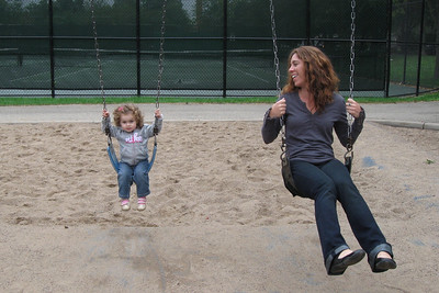 swinging like a big girl with Aunt Shelly