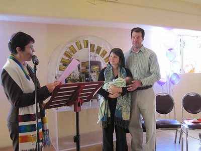 Rabbi Rachel gives blessings (photo by David Fifer)
