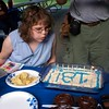Shannon blowing out candles. Party at Kensington Metropark.