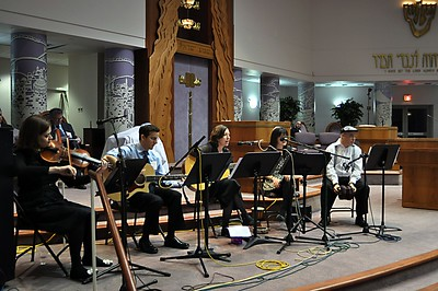 """Our in-house band, Ein Lanu Z'man (""""We Have No Time"""") (photo by Sam Backman)"""