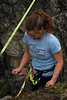 Jenni shows a little frustration at reaching the mental barrier encountered by all highliners.